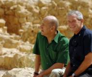 George W Bush and Ehud Olmert