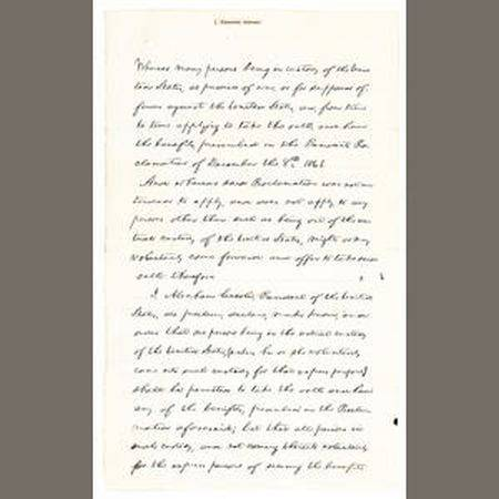 President Abraham Lincoln's manuscript Proclamation of Amnesty and Reconstruction
