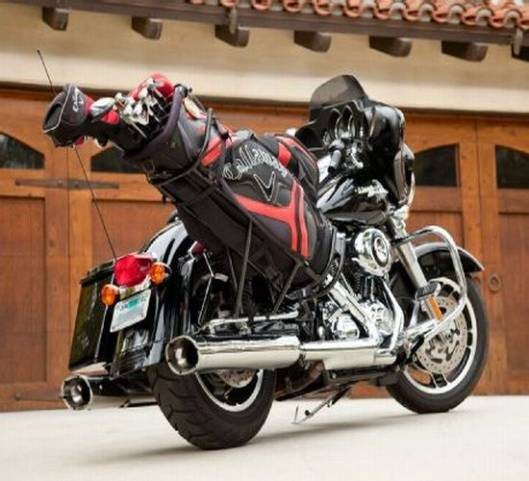 The Milwaukee Golf Caddy for Harley riders will let you carry your clubs in style