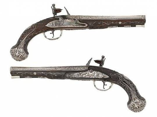 18th century pair of Silver Flintlock pistols