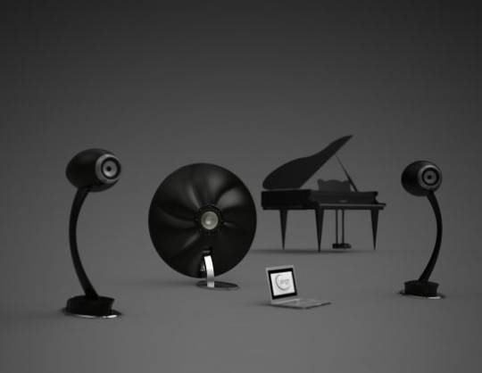 Figaro and Apollo speaker and subwoofer with a grand piano