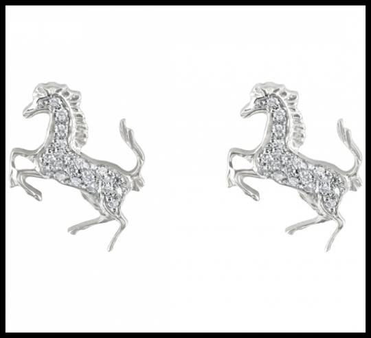 White gold and diamond Cavallino Rampante earrings