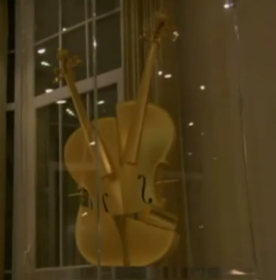 Gold Violin sculpture