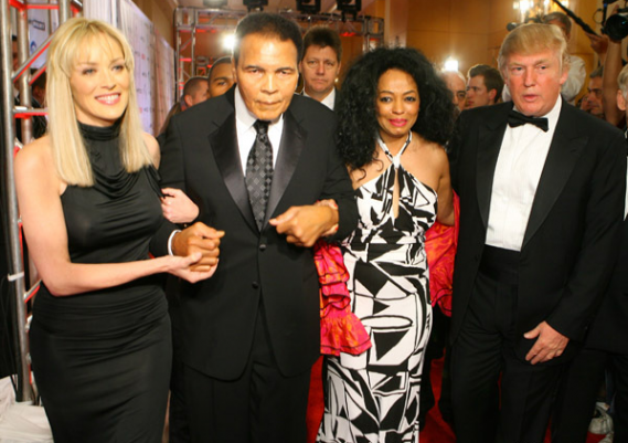 Sharon Stone, Muhammad Ali, Diana Ross and Doanld Trump Muhammad Ali's Celebrity Fight Night XIII Red Carpet nignt.