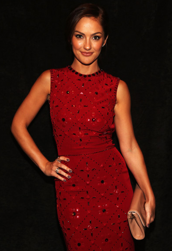 Minka Kelly arrived at the Jenny Packham Spring 2013 fashion show at the 2012 New York Fashion Week sporting a Riviera Clutch from Christian Louboutin.