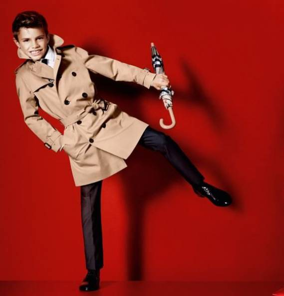 Romeo Beckham makes his modelling debut for Burberry S/S '13.