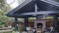The outdoor fireplace