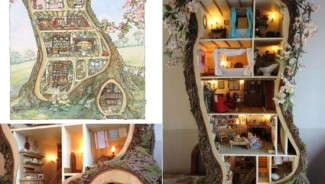 Miniature Tree Trunk Dollhouse is straight from the children's book series 'Brambly Hedge'