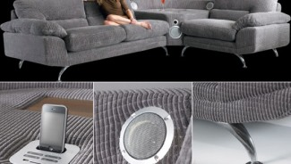 The Sound Sofa has a built-in iPod/iPhone dock