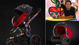 Special edition Romero Britto luxury baby strollers and car seats looks inspired from Damien Hirst