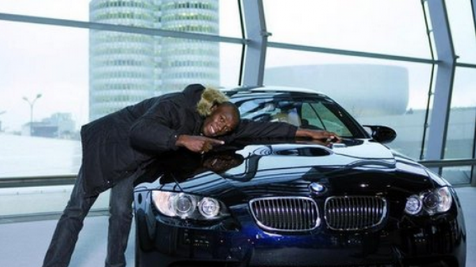 Usain was given a blue colored BMW M3 by his principal sponsor for his performance in the Olympics.