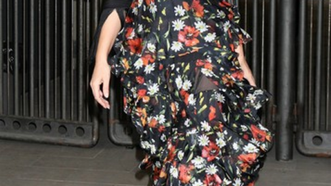 Actress and fashion model Bellucci has worn this floral dress to a prestigious event.