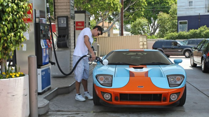 The singer loves to take out his orange and baby blue multicolored Ford GT on routine errands through the streets of Los Angeles.