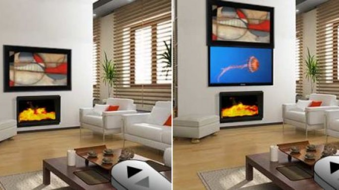 Media Decor Eclipse Art Lift hides and reveals your TV artistically