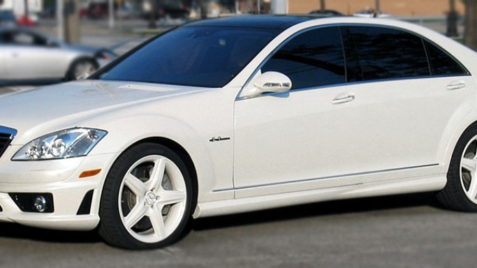 S63 AMG car - Color: White  // Description: graceful