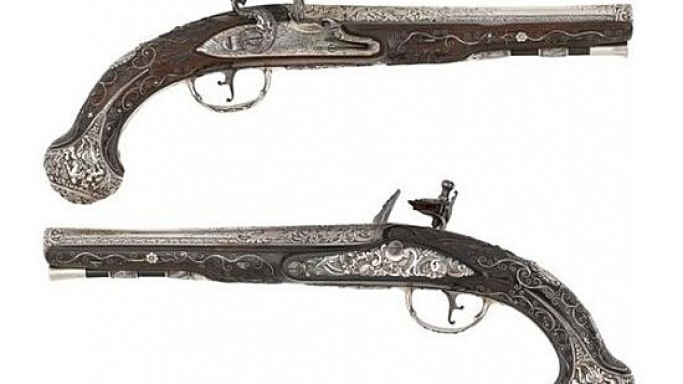 Bonhams London to auction rare pair of silver Flintlock holster pistols