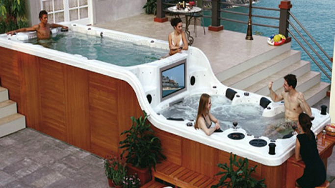 SPAmbient's hot tub with built-in TV and bar is all you need for an outdoor party