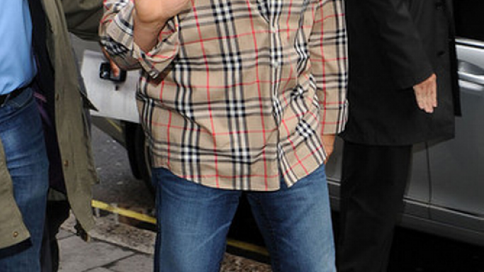"The actor has been snapped in the Burberry ""Jack"" Exploded Check shirt leaving the BBC studios In London."