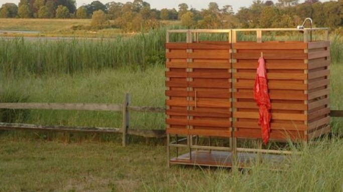 A $4,300 prefab outdoor shower unit made out of Sustainable hardwood