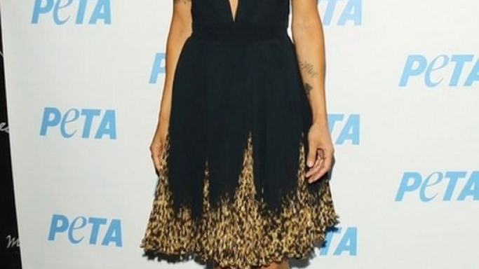 Standing up for animals at a PETA charity, Elisabetta Canalis looked like a graceful feline in a leopard print short dress.