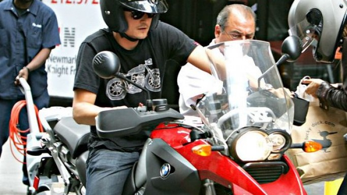 Orlando Bloom rides BMW R1200GS
