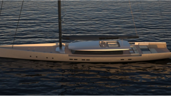 Van Geest Design 60 meter sailing yacht unfold itself to offer beach lounge area onboard