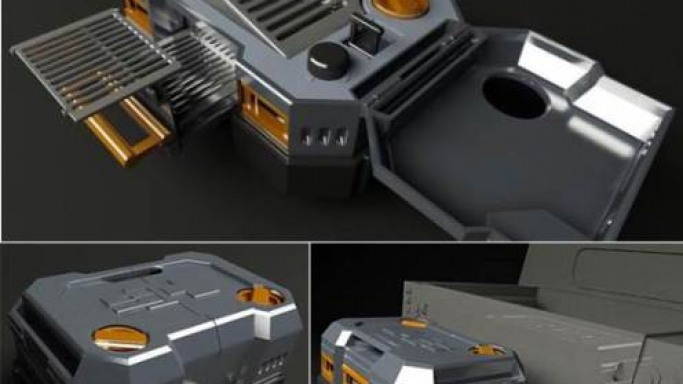 The Hummer BBQ grill folds into a box to be towed around in style