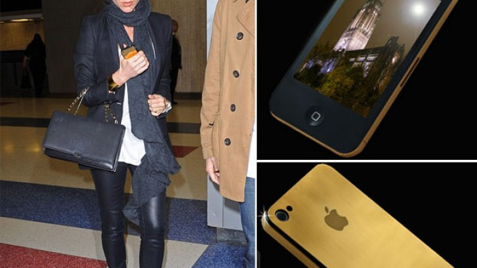 Victoria Beckham flaunts gold iPhone by Stuart Hughes